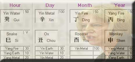 UK PM Chinese Astrology Chart